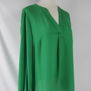 INC Int'l Concepts Green V-Neck L/S Blouse Top 0X